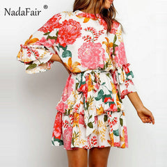 Nadafair Print Floral Ruffle Wrap Dress 2019 Boho A-Line Chiffon Short Dress Flare Sleeve Lace Up Summer Mini Sundress Holiday - Slabiti