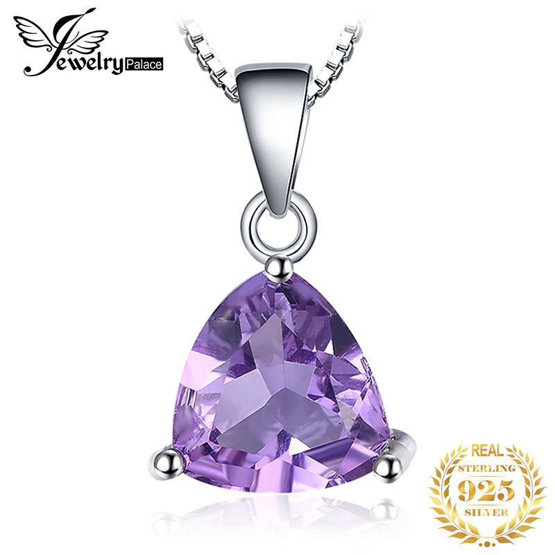 Natural Amethyst Pendant Necklace 925 Sterling Silver Gemstone Choker Statement Necklace Women silver 925 Jewelry Without Chain - Slabiti