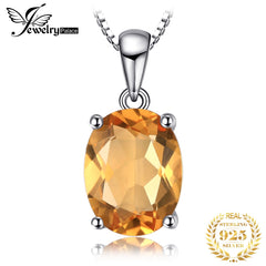 Natural Citrine Pendant Necklace 925 Sterling Silver Gemstones Choker Statement Necklace Women silver 925 Jewelry Without Chain - Slabiti