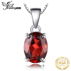 Natural Garnet Pendant Necklace 925 Sterling Silver Gemstones Choker Statement Necklace Women silver 925 Jewelry Without Chain - Slabiti