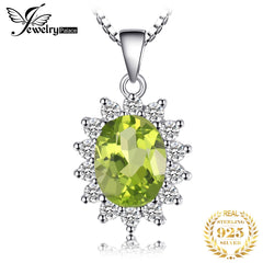 Natural Peridot Pendant Necklace 925 Sterling Silver Gemstones Choker Statement Necklace Women silver 925 Jewelry Without Chain - Slabiti
