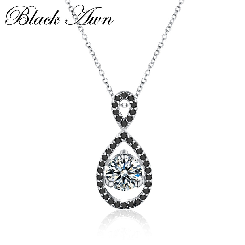 Neo-Gothic 3.5g 100% Genuine 925 Sterling Silver Necklace Classic Water-Drop Necklaces&Pendants Women Jewelry P009 - Slabiti