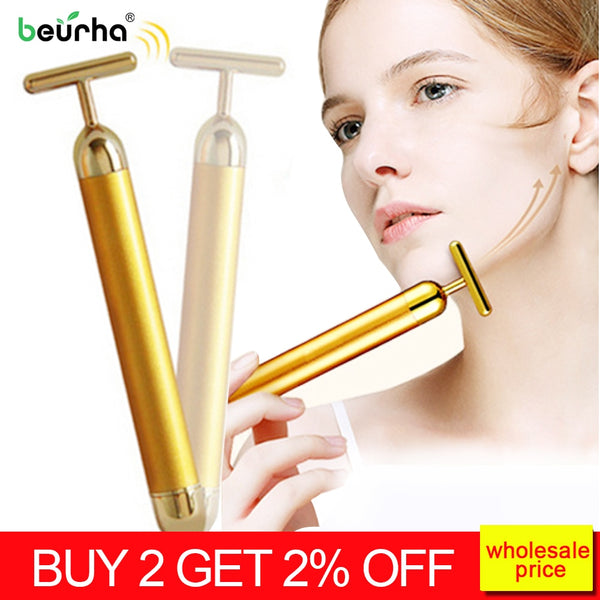 New 2019 24k gold Face massage Tool V Shape roller Vibration Facial Beauty Massager Stick Lift Skin Tightening Wrinkle Bar - Slabiti