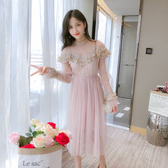 New 2019 Spring Autumn Women dress Flare Sleeve Patchwork Mesh Turtleneck Half A High-end French Lace Dresses Blue Apricot 9086 - Slabiti