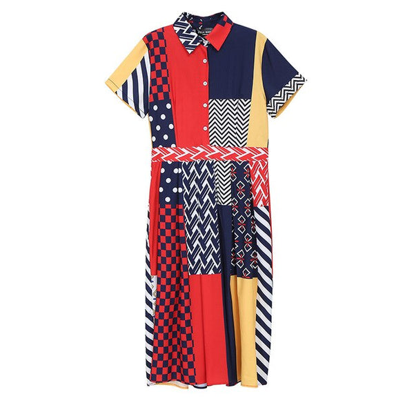 New 2020 Women Summer Clothes Colorful Long Shirt Dress Geometrical Ladies Stylish Elegant A-Line Korean Style Dress Robe 6034