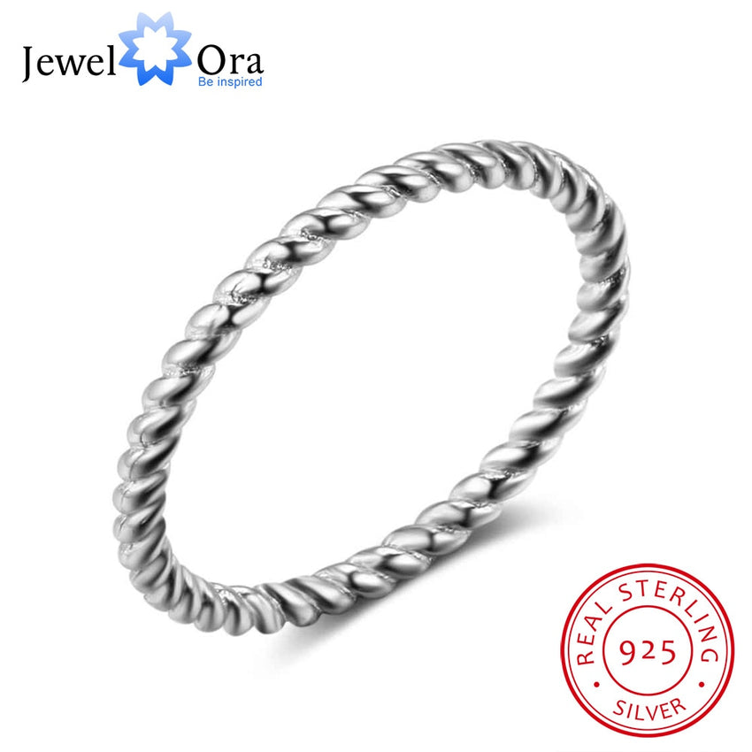 New 925 Sterling Sliver Rings for Women Rope Shape Rings Fashion Silver Jewelry Engagement Anniversary Gift JewelOra RI102772 - Slabiti