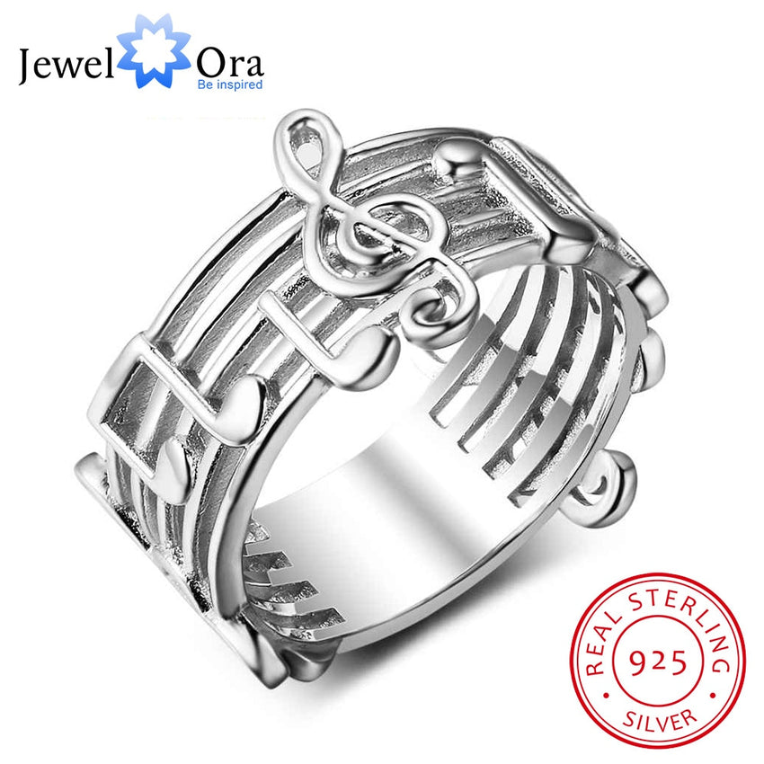 New 925 Sterling Sliver Rings for Women with Musical Note Pattern Music Lover's Band Ring Fashion Jewelry Gift JewelOra RI102767 - Slabiti