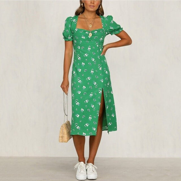 New Arrival 2020 Women Summer Spring 100% Cotton Short Sleeve Casual Long Dress Party Holiday Split Dress Female Vestidos - Slabiti