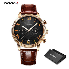 New Arrival SINOBI Watch Men Brown Leather Wristwatch Men Waterproof Luminous Calendar Luxury Casual Watches Relogio Masculino - Slabiti