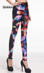 New Arrival ! Women Slim  Designed digital Printed supernova sale Jellyfish Rainbow Leggings Drop shipping - Slabiti