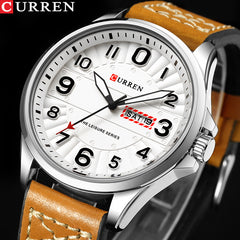 New CURREN Sport Quartz Watch Waterproof Mens Watches Top Brand Luxury Genuine Leather Date Week Clock relogio masculino - Slabiti