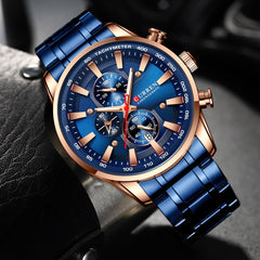 New Chronograph Quartz Men's Watch CURREN Stainless Steel Date Wristwatch Clock Male Luminous Watches Relogio Masculino - Slabiti