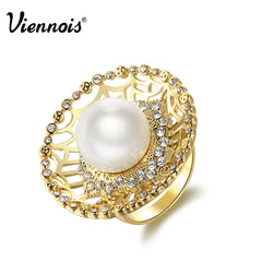 New Viennois Gold Color Party Rings For women Simulated Pearl Rings Full Rhinestone Paved Round Rings Trendy For Birthday - Slabiti