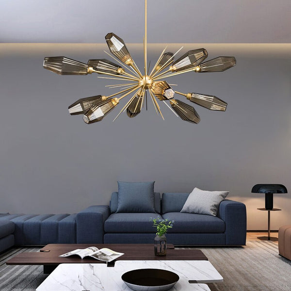 New design luxury glass chandelier Nordic postmodern living dining bedroom kitchen lighting bar restaurant industrial chandelier