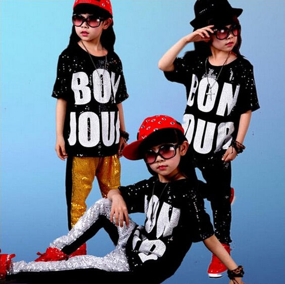 New popular 2018 Summer Children Clothing Boys Clothes Streetwear Hip Hop Sequin Short Sleeve Sets Children's Sets for 4-14 year - Slabiti