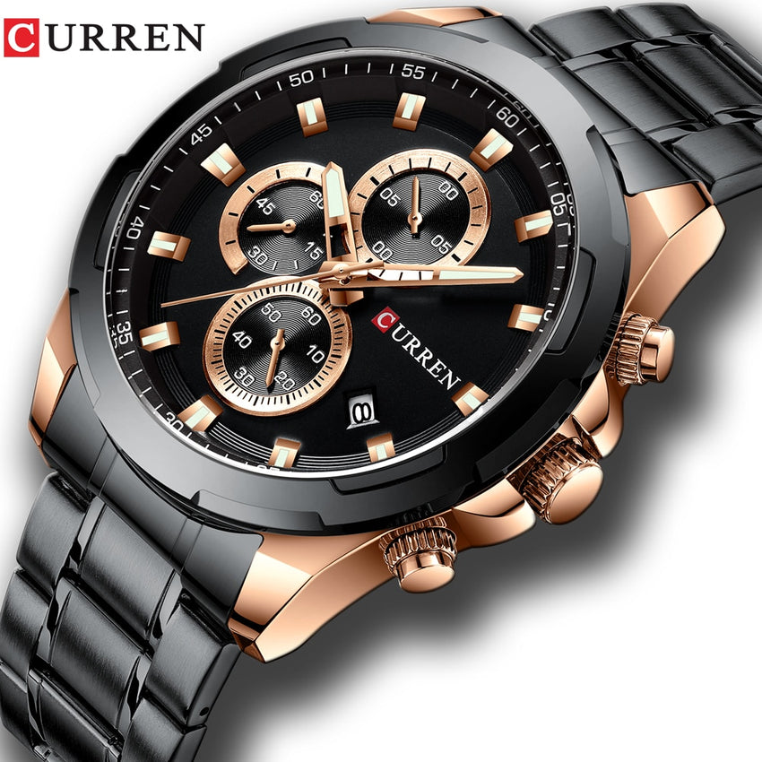 Newest CURREN Mens Watches Top Brand Luxury Military Steel Sports Wristwatch For Man Men's Waterproof Male Clock Relojes - Slabiti