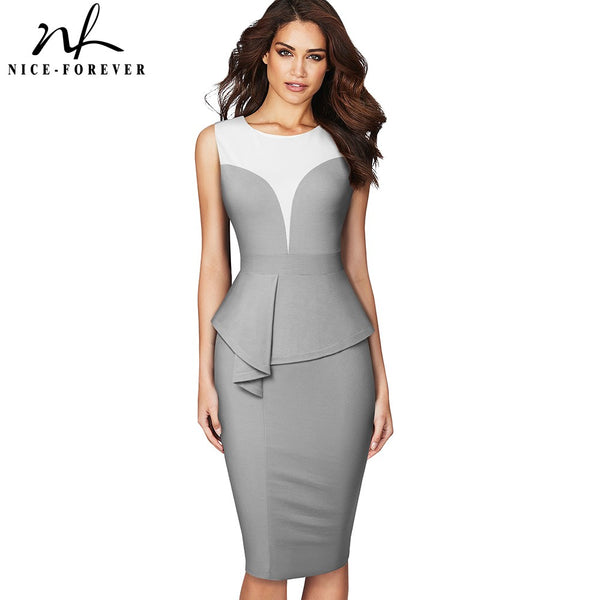 Nice-forever Elegant Contrast Color Patchwork Office Work Peplum vestidos Business Party Bodycon Women Pencil Dress B575