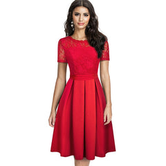 Nice-forever Elegant Lace Patchwork with Back V vestidos Party Retro Women Flare Swing Dress A203 - Slabiti