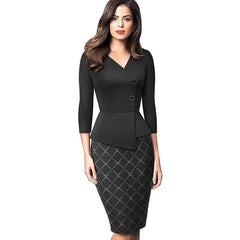 Nice-forever Elegant Patchwork with Button Work Office vestidos Business Formal Bodycon Women Winter Dress B564 - Slabiti