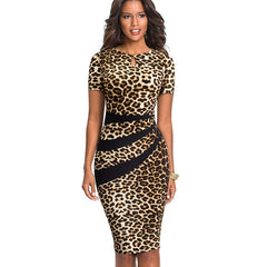 Nice-forever Vintage Optical Illusion Leopard Color Block Work vestidos Business Party Bodycon Office Sheath Women Dress B498 - Slabiti