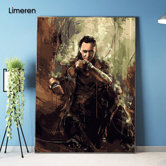 No frame Picture On Wall Acrylic Coloring By Numbers DIY Oil Painting By Numbers Unique Gift Home Decor The Avengers Loki - Slabiti