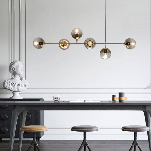 Nordic Magic Beans Pendant Light 4-6 lights Modern gray Glass ball creative long Suspension Lighting for restaurant coffee bar