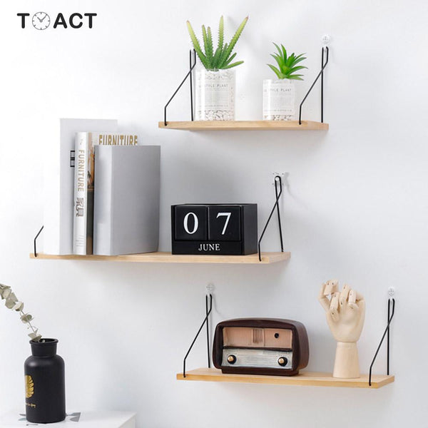 Nordic Style Colorful Wood Shelves Wall Clapboard Decoration Tv Wall Hanging Storage Children Kids Clothing Store Display Stand - Slabiti