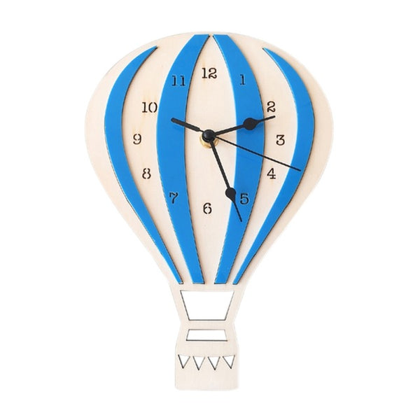 Nordic Style Wall Clock Hot Air Balloon Design Clock For Children Room Cute Wall Clock Home Decoration - Slabiti