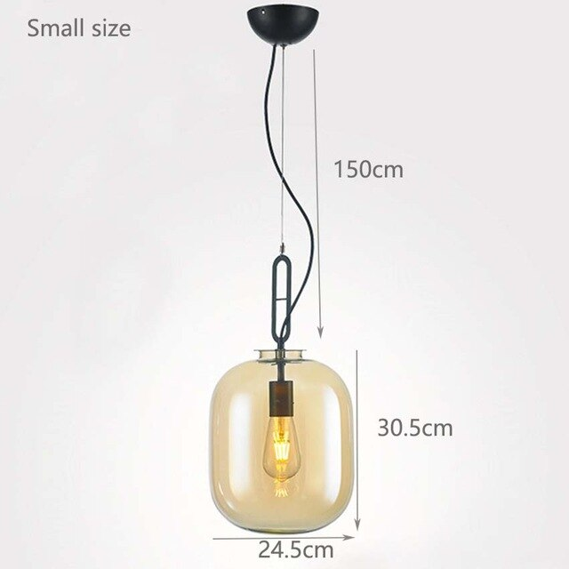 Nordic dining room pendant lights amber gray glass hanging lamps for kitchen living room bedroom restaurant hotel hall lighting - Slabiti