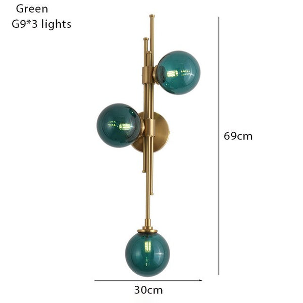 Nordic simple glass ball wall lamp 3 heads living room background aisle corridor home creative wall light fixture bedside sconce