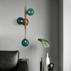 Nordic simple glass ball wall lamp 3 heads living room background aisle corridor home creative wall light fixture bedside sconce - Slabiti