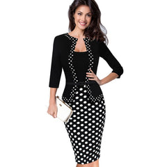 OTEN Womens Retro Faux Jacket One-Piece Polka Dot Contrast Patchwork Work Wear Office Business Sheath Dress tunic robe crayon - Slabiti