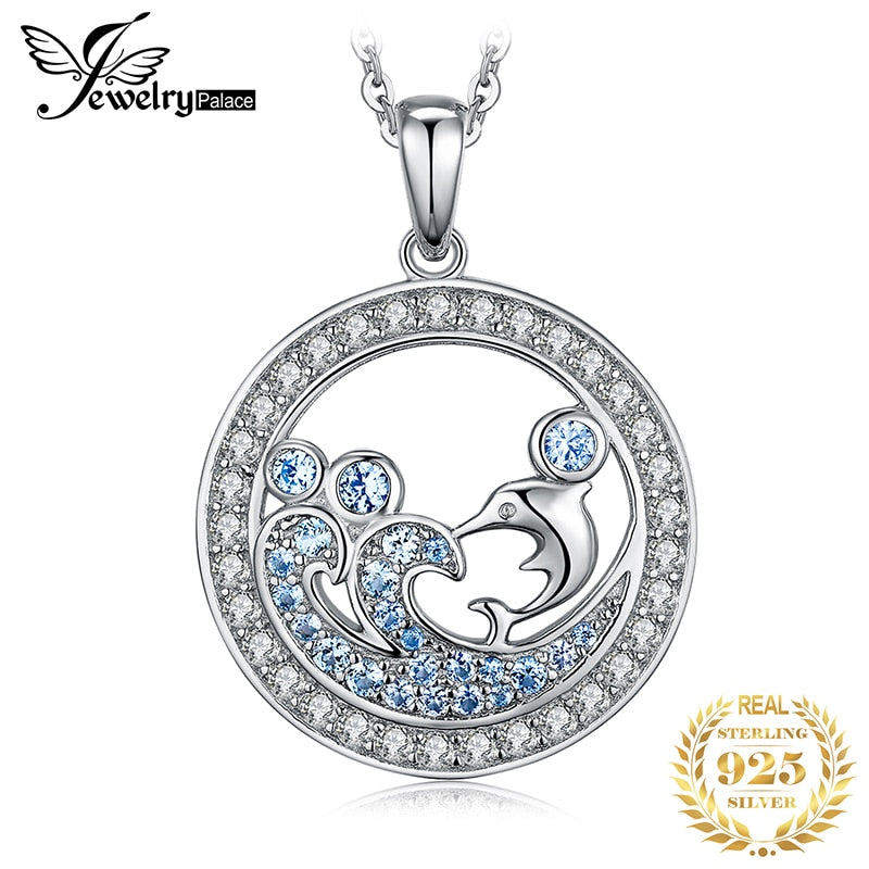 Ocean Dolphin Created Blue Spinel Pendant Necklace 925 Sterling Silver Gemstones Choker Statement Necklace Women Without Chain - Slabiti