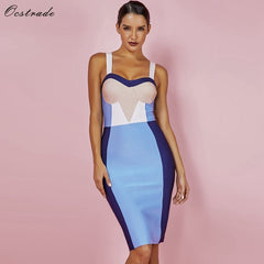 Ocstrade Summer Women Bandage Dress 2019 New Arrival Color Block Sexy Bodycon Party High Quality Knee Length Bandage Rayon Dress - Slabiti
