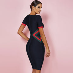 Ocstrade Women Vestidos Bandage Dress 2019 New Summer Color Block Club Party Bodycon Dress Elegant High Quality HL Bandage Dress - Slabiti