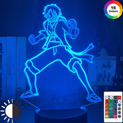 One Piece Monkey D Luffy Figure 3d Illusion Night Light Led Touch Sensor Nightlight for Kids Bedroom Decor Cool Table Lamp Anime - Slabiti