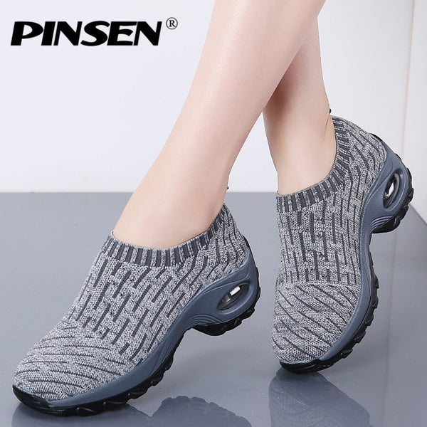 PINSEN 2020 Autumn Sneakers Women Breathable Mesh Casual Shoes Women Slip-on Ladies Flats Platform Shoes tenis feminino creepers - Slabiti