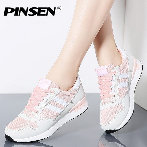 PINSEN 2020 Fashion Sneakers Women New Spring Casual Shoes Basket Female Flat Shoes Woman Lace-up Trainers Shoes Chaussure Femme - Slabiti