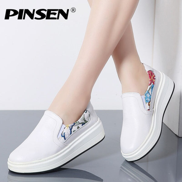 PINSEN 2020 New Autumn Womens Flats Shoes Genuine leather Laides Loafers Slip On Platform Shoes Woman Moccasins Slipony - Slabiti