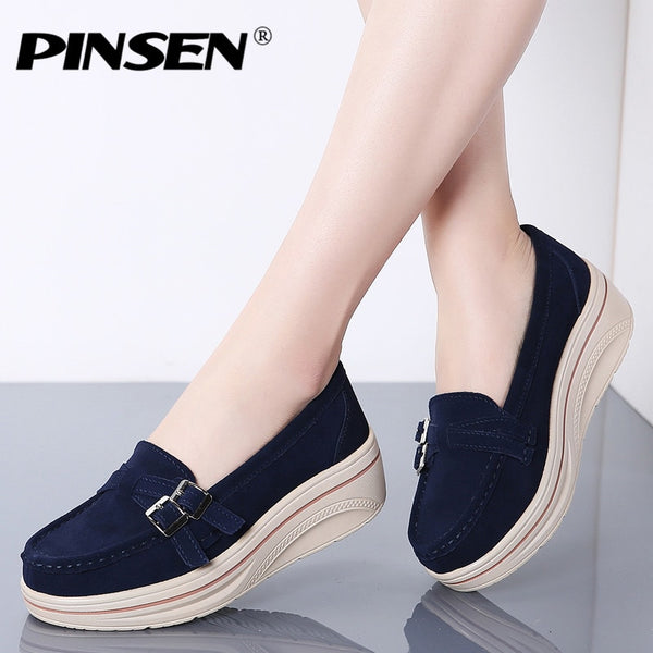 PINSEN 2020 New Fashion Women Flat Shoes Genuine Leather Loafers Shoes Woman Slip-on Flats Ladies Platform Wedge Shoes creepers - Slabiti