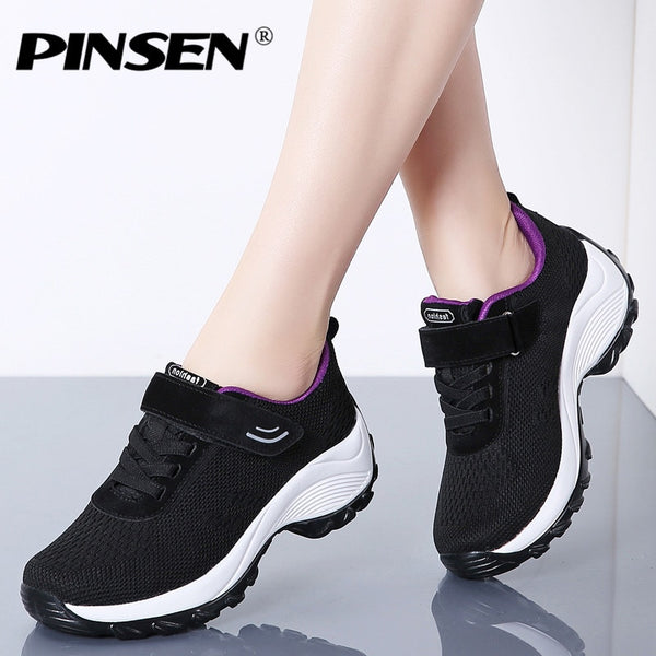 PINSEN 2020 New Flats Women Platform Sneakers Breathable Mesh Lace-up Basket Femme Women Heel Wedges Shoes for Women creepers - Slabiti