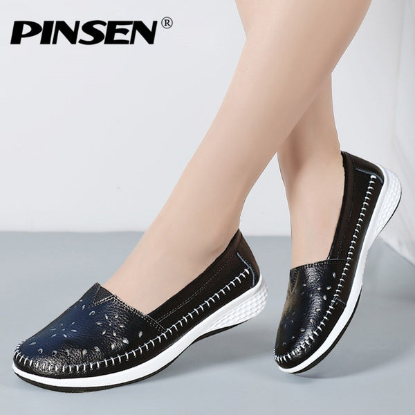 PINSEN 2020 Spring Flat Shoes Women Genuine Leather Solid Slip On Moccasins Loafers Shoes Woman Round Toe Ladies Shoes Creepers - Slabiti