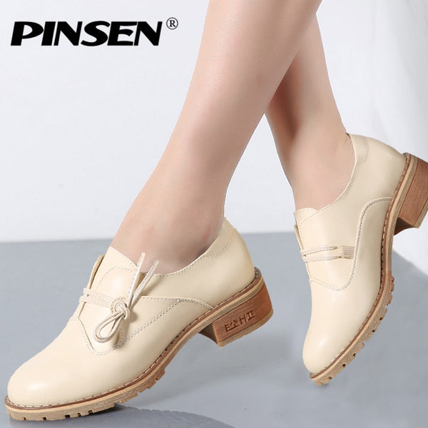 PINSEN 2020 Spring Women Platform Shoes Womens Casual Shoes Leather Flats Platform Shoes Woman Flats Ladies Lace up Creepers - Slabiti