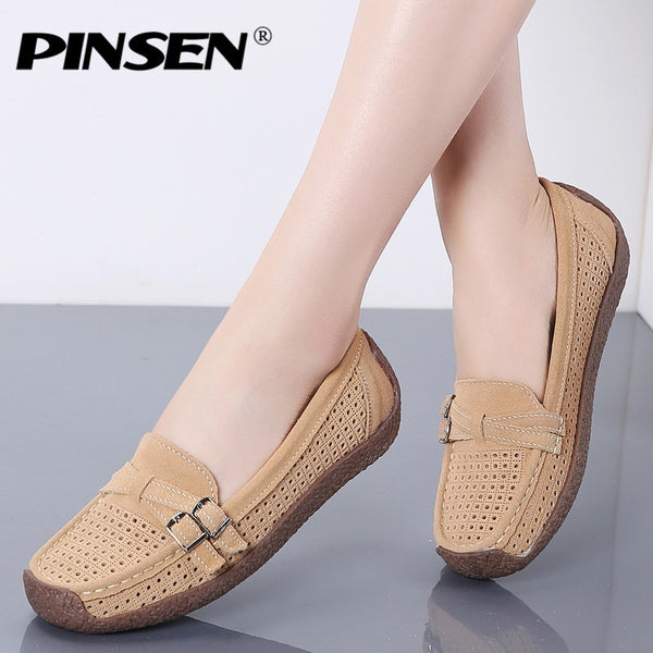 PINSEN 2020 Summer Fashion Women Flats Shoes Genuine Leather Loafers Women Shoes Slip-on Comfortable Ladies Boat Shoes moccasins - Slabiti