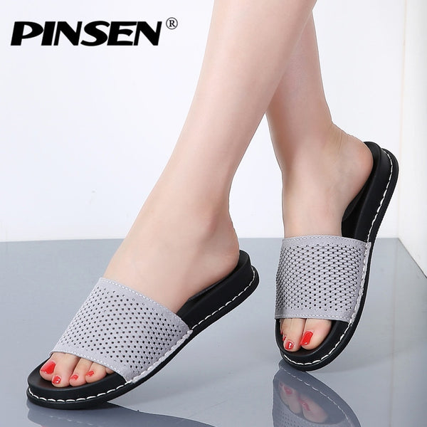 PINSEN 2020 Summer Slippers Flat Sandals Shoes Women Beach Shoes Slip-on Cutout Round Toe Leather Suede Flat Slides Flip Flops - Slabiti