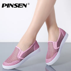 PINSEN 2020 Summer Women Shoes Breathable Slip-On Flat Shoes Woman Fashion Ballerina Flats Loafers Ladies Shoes - Slabiti