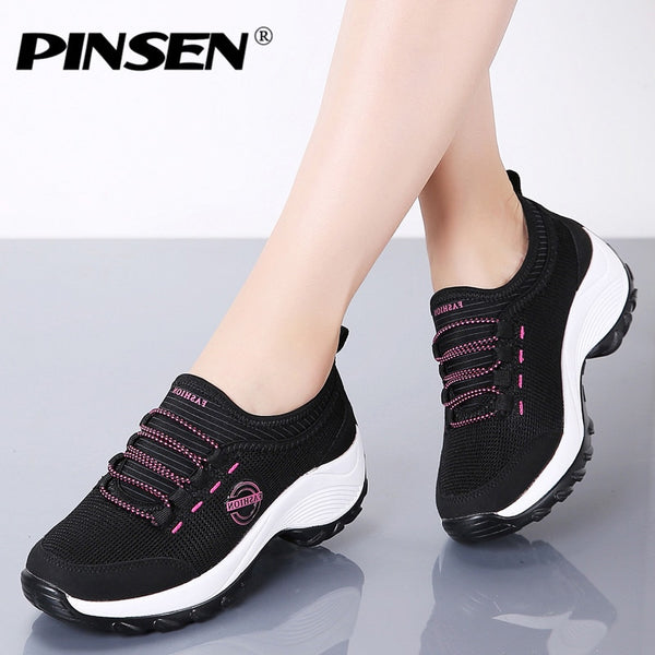 PINSEN 2020 Women Flat Platform Sneakers Breathable Mesh Casual Shoes Women Sneakers Comfortable Ladies Walking Boat Shoes - Slabiti