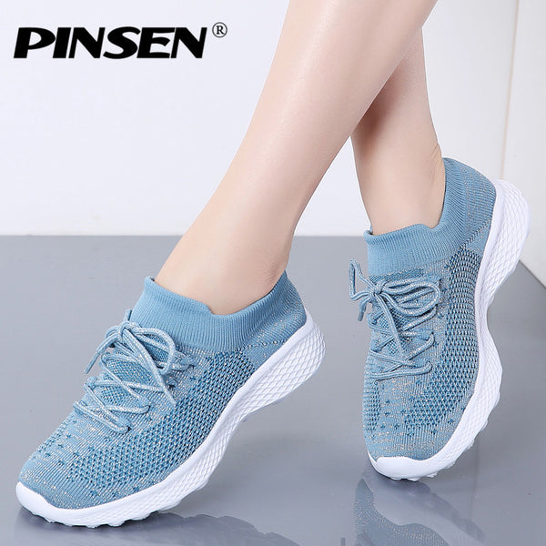 PINSEN 2020 Women Flats Shoes Breathable Mesh Sneakers Shoes Woman Lace-up Casual Basket Femme Trainers Women tenis feminino - Slabiti