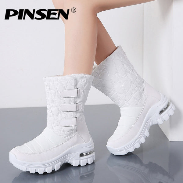 PINSEN 2020 Women Winter Boots Waterproof High Quality Keep Warm Plush Boots Women Mid-Calf Snow Boots Non-slip botas mujer - Slabiti
