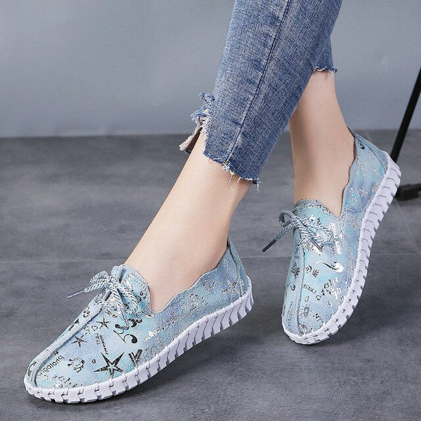 PINSEN Autumn Women Ballet Flats Shoes Genuine Leather Comfortable Lace-up Casual Shoes Woman Handmade Ladies Flats moccasins - Slabiti